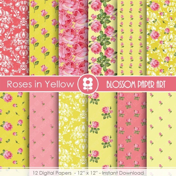 Yellow Digital Paper Floral Scrapbooking