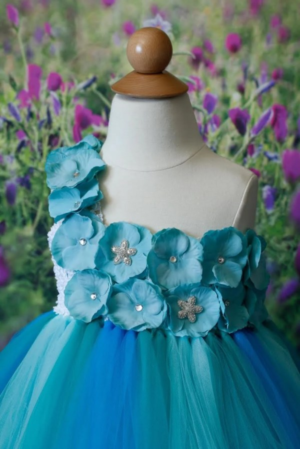 Flower Girl Dress Turquoise Blue Birthday Party