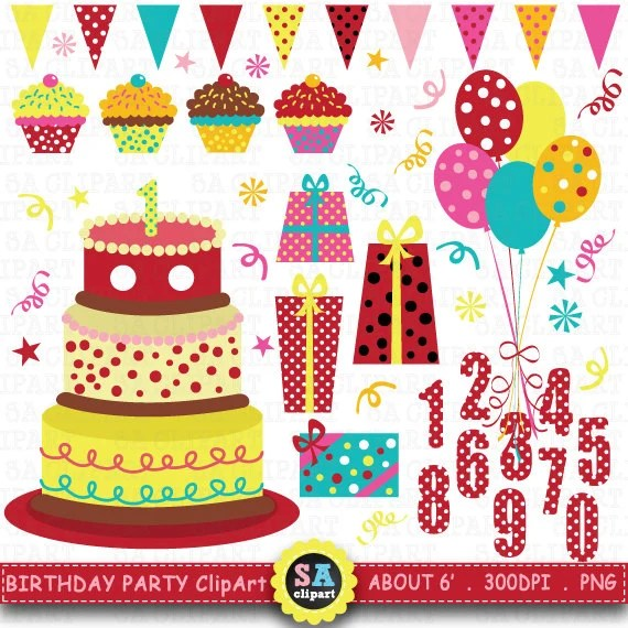 Items Similar To Birthday Party Clip Art Birthday CLIP