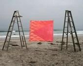 Organic Hand-Dyed Quilt- ANGLE geometric pink/orange, cotton, modern heirloom, child's size