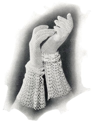 holiday gift to make Vintage Crochet Pattern Womens Lace Gauntlet Gloves 1930s Medium About 7.5 Inches Instant Digital PDF Download