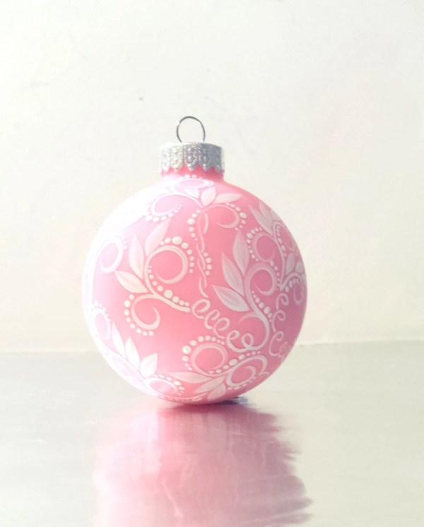 Christmas Ornament Small Glass Ornament Pink and White Swirls