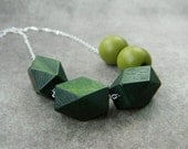 Geometric Wood Necklace - Green, Olive Green, Rustic, Tribal, Indian, Cubes, Balls, Big, Autumn, Fall, Geometry, Modern, Jewelry Necklace - gabeadz