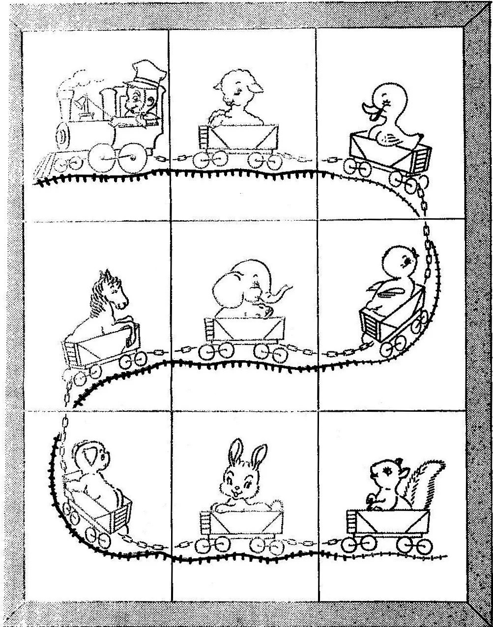 Train Crib Quilt Vintage Embroidery Pattern 521 for Baby 32x41
