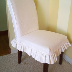 Chair Slip Cover Reclining Club Linen Parsons Slipcover Ruffled Skirt Dining