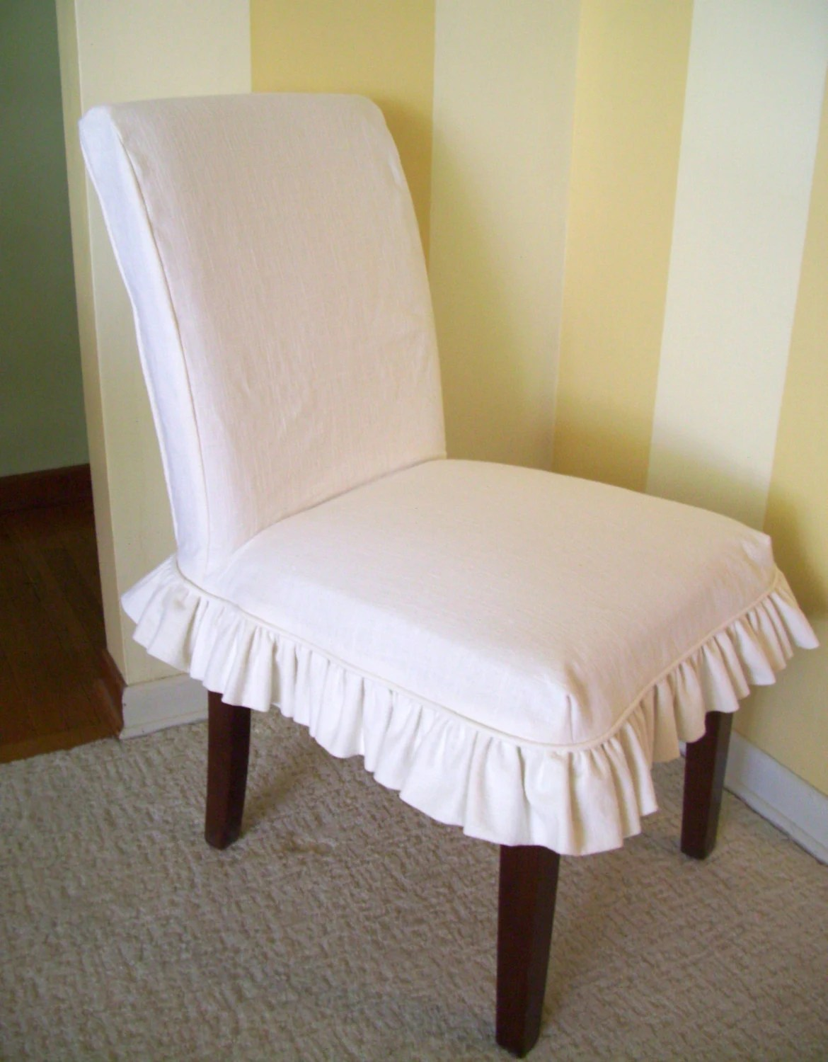 Slip Cover Chairs Linen Parsons Chair Slipcover Ruffled Skirt Dining Chair