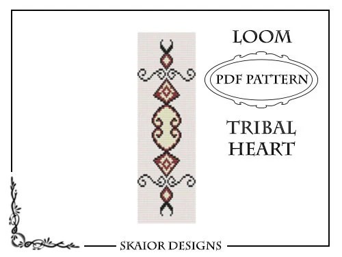 Tribal Heart Tattoo Loom Bead Pattern Square Stitch Love