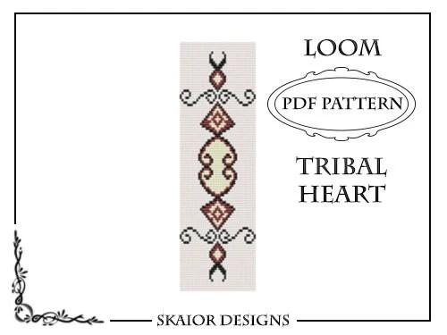 Tribal Heart Tattoo Loom Bead Pattern Square Stitch Love