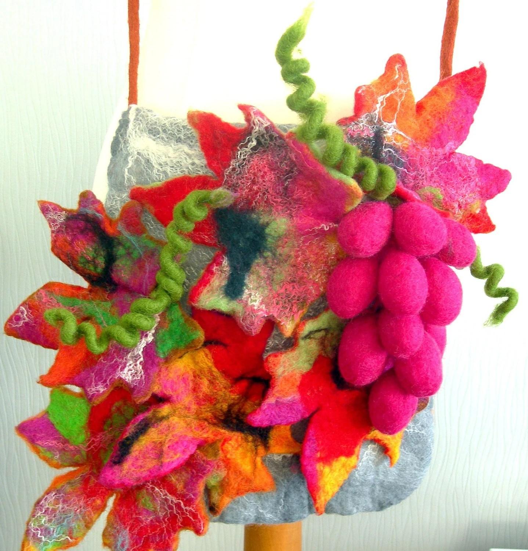 Messenger Bag-Hand Felted, purse, Woman  handbag or Clutch    -  makeap -ART BAG-LEAFS- - SkyWool
