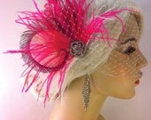 Bridal Hair Clip, Bridal Feather Fascinator, Hot Pink and White, Wedding Veil, Wedding Fascinator, Feather Fascinator