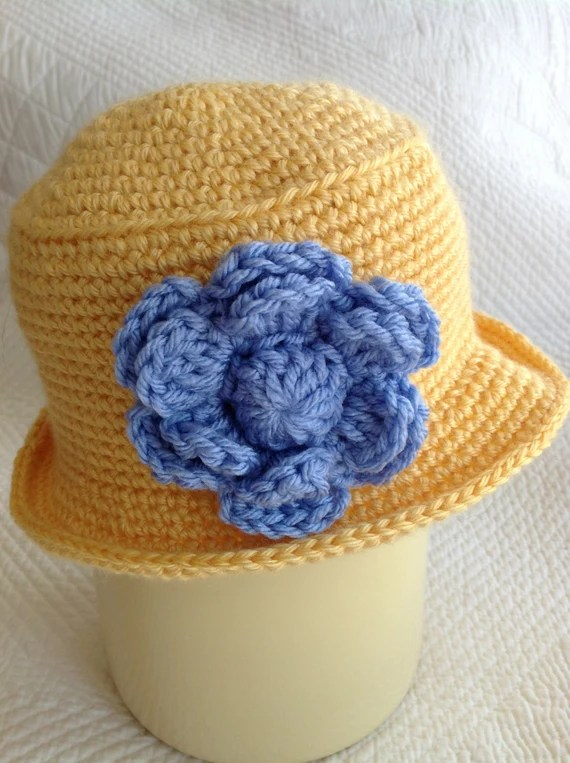Crochet Baby Hat, Child Hat, Child Hat with Flower, Baby Girl Hat, Little Girl Hat, Hat with Roses, Yellow Hat, Little Lady Hat