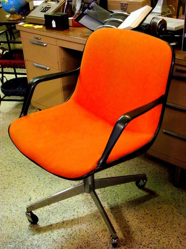 office chair no wheels arms cusion pollock knoll style in orange mid century with