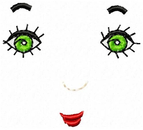 Doll Face Embroidery Design Instant by JEmbroiderynApplique