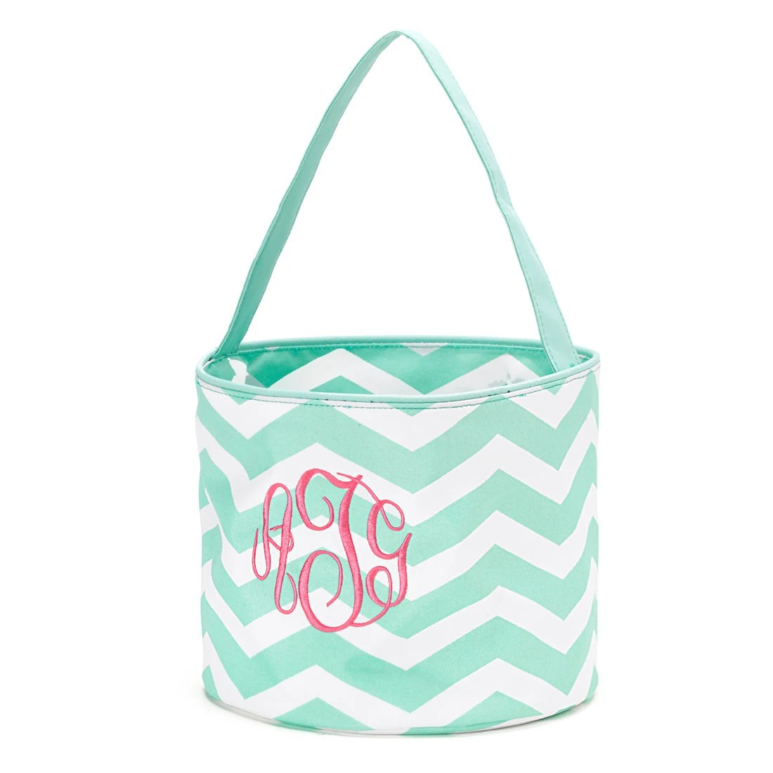 Mint Chevron Easter bucket with personalized name. Monogrammed Easter basket. Easter bag with monogram. Mint Chevron Bucket Easter Bunny - GentrysCloset