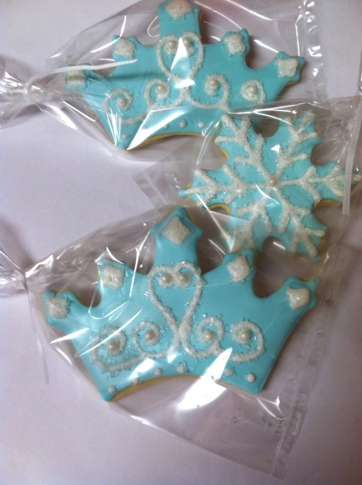 Frozen Princess Inspired Tiara And Snowflake Cookies 2 Dozen
