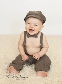 Newsboy outfit hat suspenders pants bowtie baby boy