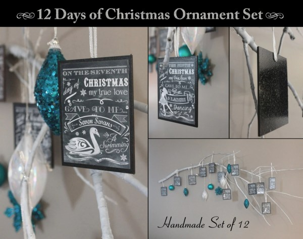 Twelve Days Of Christmas Set 12 Ornaments Chalkboard