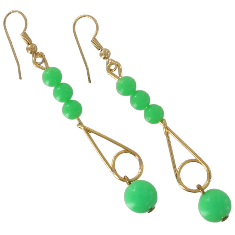 Plastic Beaded Drop Pierced Dangle Earrings Green Orange