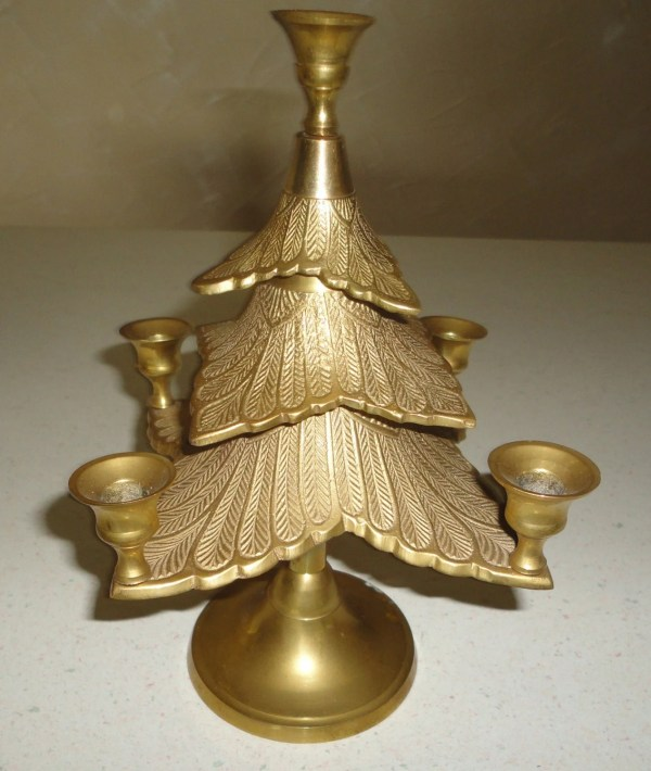 SOLID Brass Christmas Tree Candle Holder Christmas In July