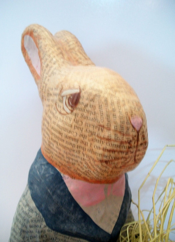 Vintage Newspaper Paper Mache Bunny Rabbit Easter Decor