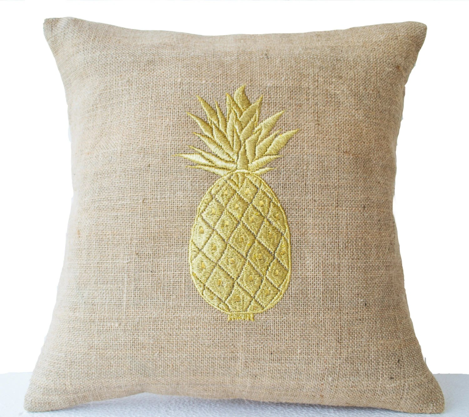 Burlap Pillow Covers with Pineapple Embroidered Gold Pillows