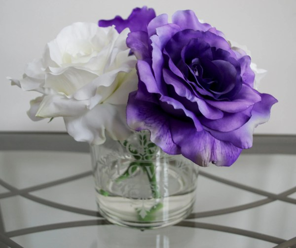 Purple Flowers White Roses Arrangements