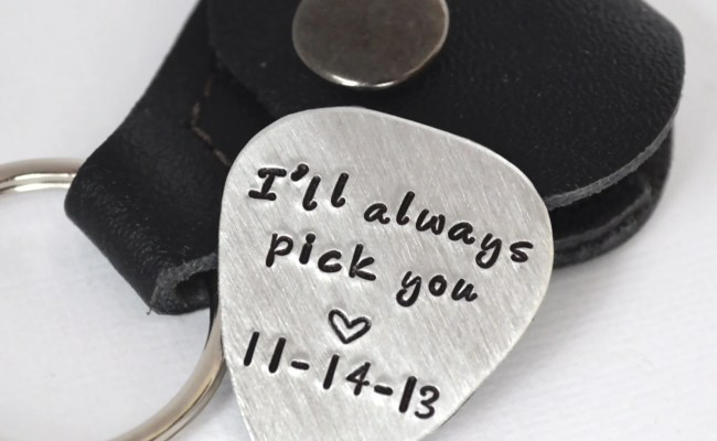 Husband Boyfriend Guitar Pick Keychain Gift I Ll Always