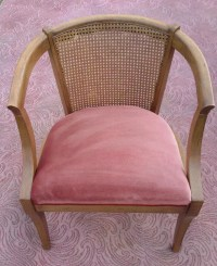 Vintage Mid-Century Modern Caning Chair Barrel Chair