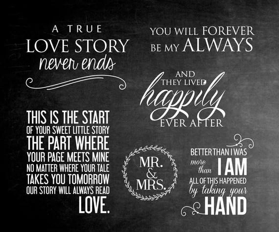 6 Wort Overlays Liebe Phrasen Hochzeitsfoto berlagern
