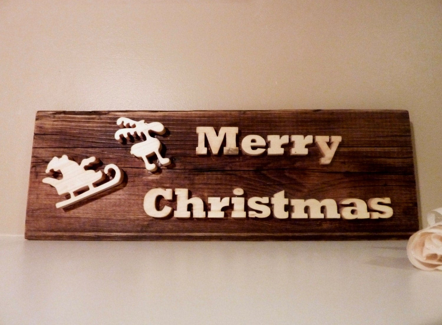Wooden Christmas Decor Merry Christmas Sign By