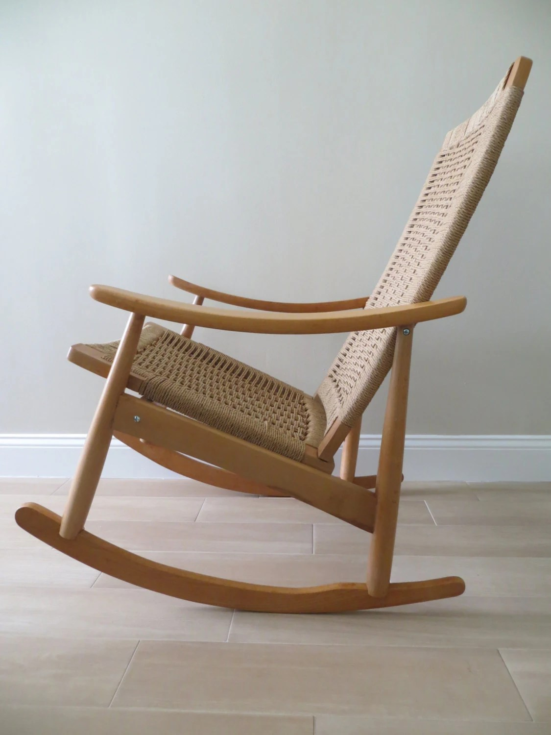 Mid Century Danish Chair Reserved Mid Century Modern Danish Rope Rocking Chair Hans