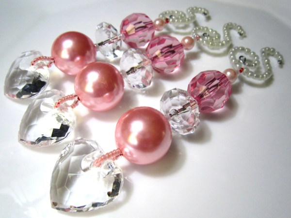 3 Pale Pink Christmas Ornament Heart Dangles with Fabulous