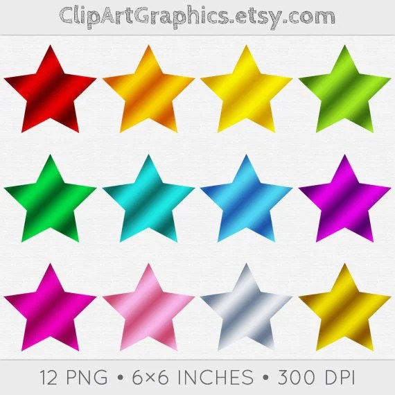 digital foil star clipart metallic