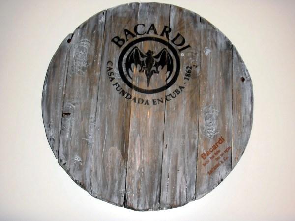 Bacardi Rum Wooden Barrel Top Vintage Sign