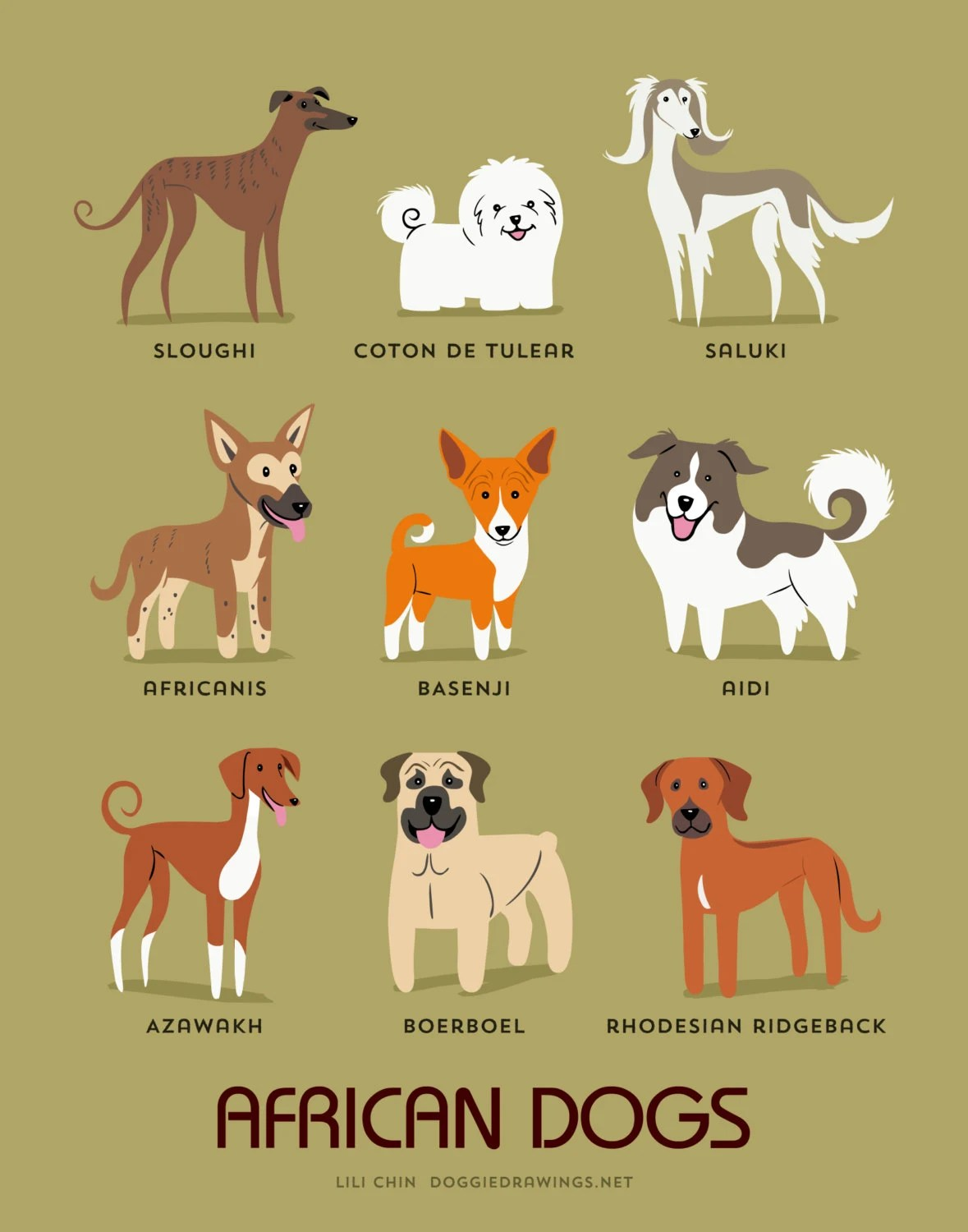 Dog Breeds Print African Dogs Art Print Dog Breeds From