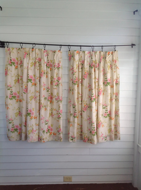 Vintage Floral Curtains Vintage Kitchen Curtains Vintage