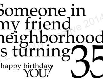 35th Birthday Card Etsy
