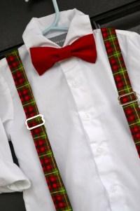 Childs bow tie red plaid suspenders red bowtie baby bowtie