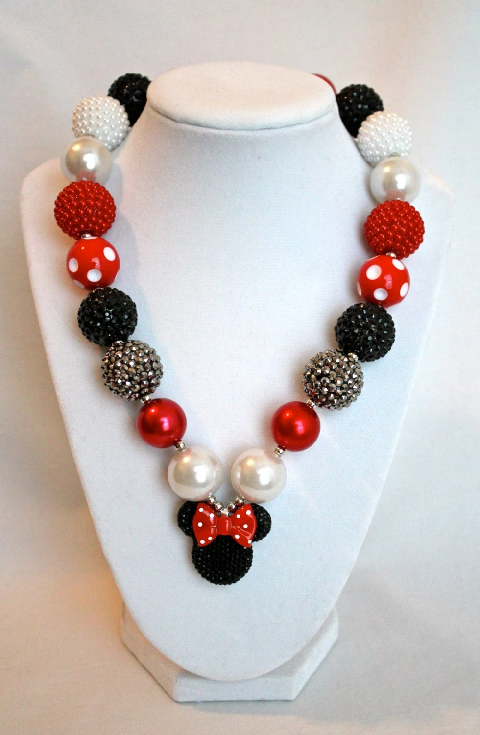 Minnie Mouse Disney Inspired Necklace Bubblegum Bead