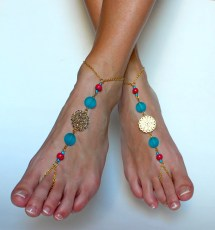 Golden Barefoot Sandals Chained Beaded Foot Jewelry
