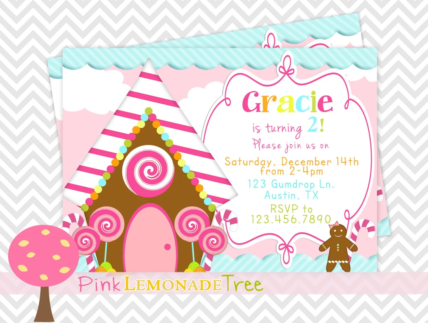 Gingerbread House Birthday Party Invitation Cute Christmas