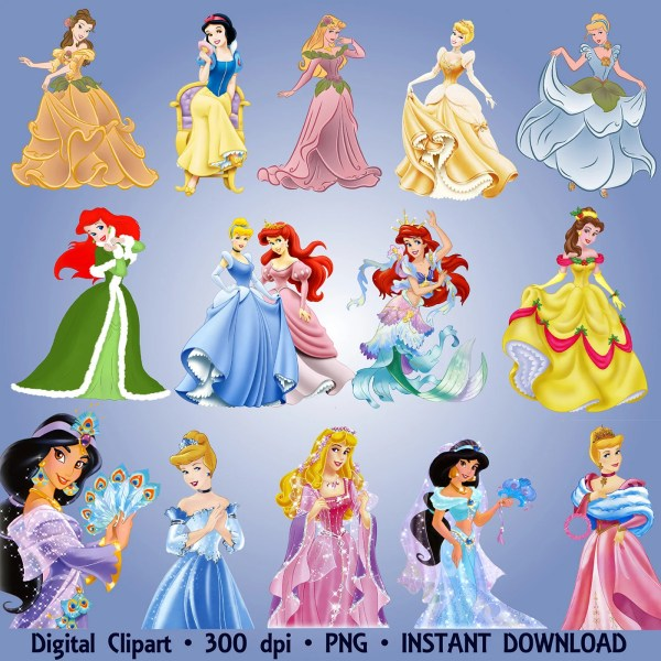 Disney Princesses Clipart Party 40 Set Ariel Jasmine Snow