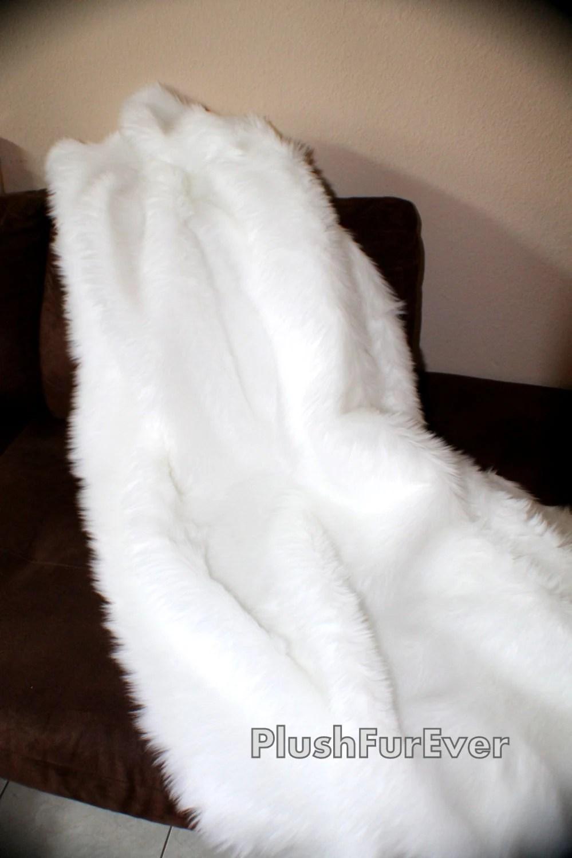 True White Luxury faux fur throw blankets shaggy fake fur