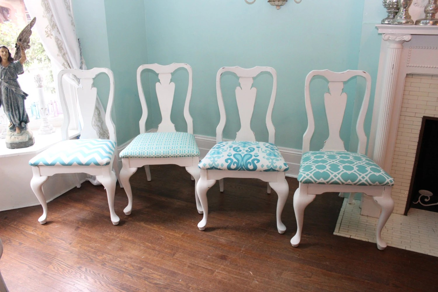 Beach Dining Chairs 4 Vintage Dining Chairs Shabby Chic Beach Cottage Coastal