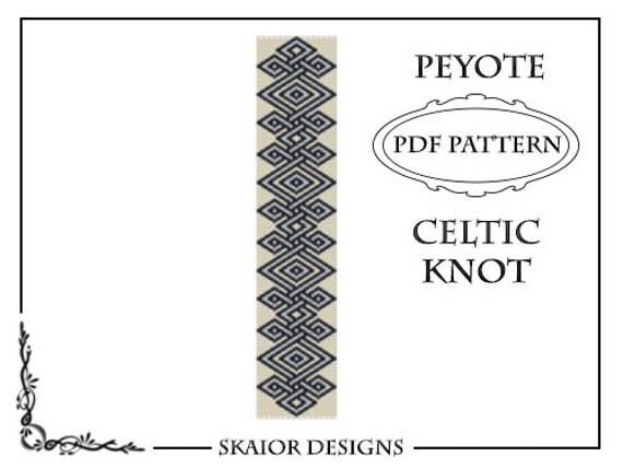 Peyote Bead Pattern Celtic Knot Bracelet PDF Seed Bead