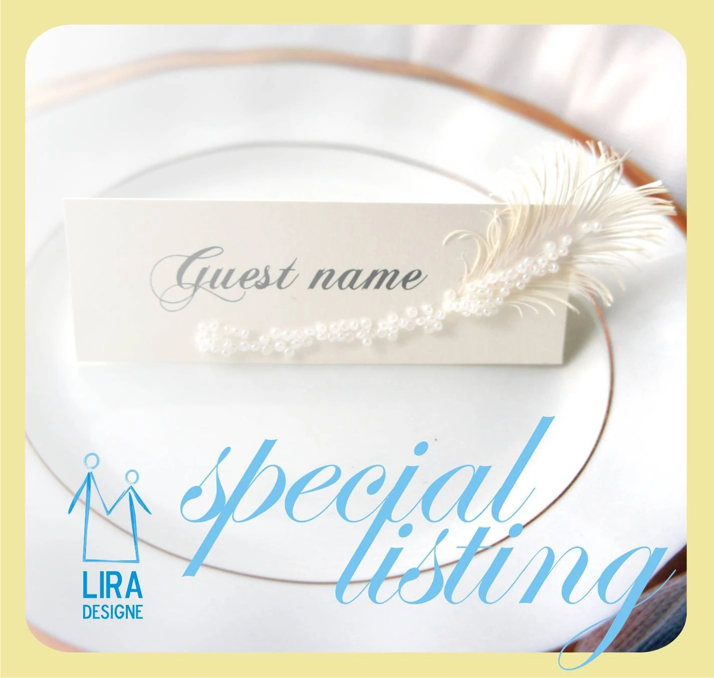 Personal Listing Wedding place cards FEATHER's for flower ...