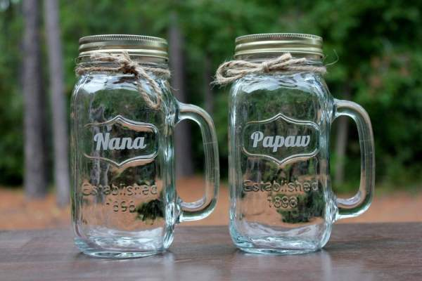 Personalized 24 Oz Mason Jar Mugs With Handles Engravingbyt