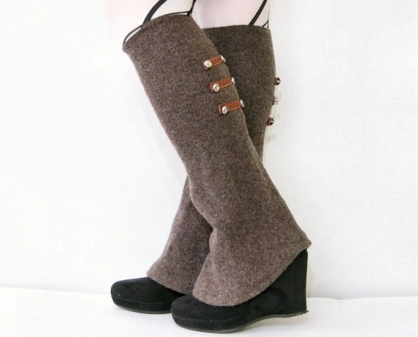 Leg Warmers Shoe Covers Spats Recycled Wool Brown Piabarile