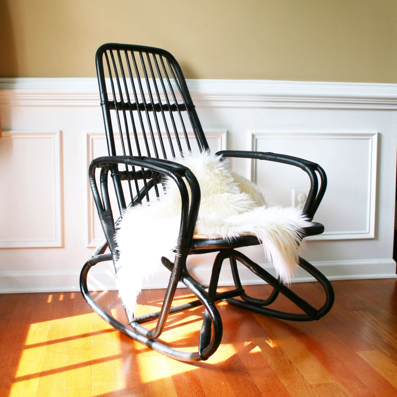 Vintage Modern Bamboo Rocking Chair Franco Albini Eames