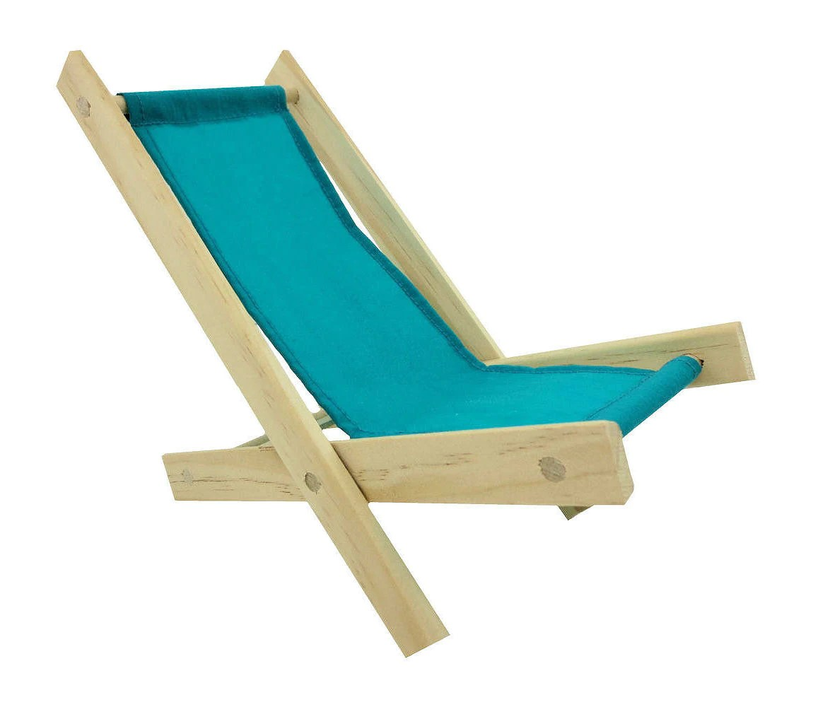 Folding Wood Beach Chair Toy Wooden Folding Beach Chair Sea Green Fabric For Dolls